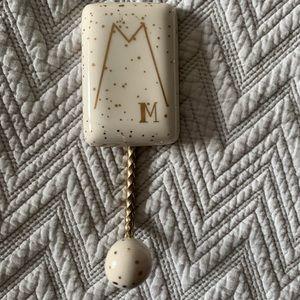 """ANTHROPOLOGIE wall hook """"M"""" monogram"""